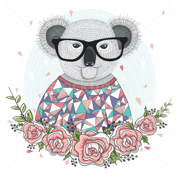 Cute hipster koala with glasses and flower frame. Stock photo © lapesnape