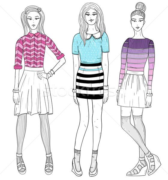 Young fashion girls illustration. Vector illustration. Stock photo © lapesnape