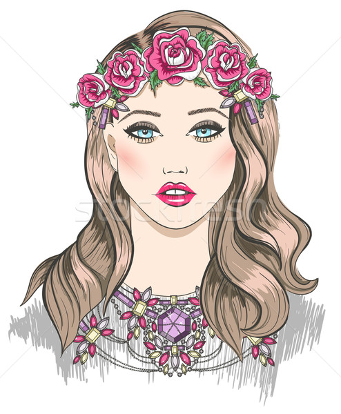 Young girl fashion illustration. Girl with flowers in her hair  Stock photo © lapesnape
