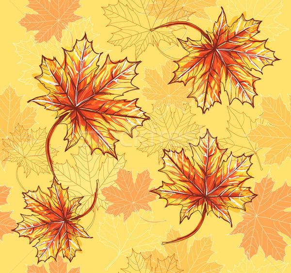 Seamless pattern with maple leafs. Autumn leafs background. Stock photo © lapesnape