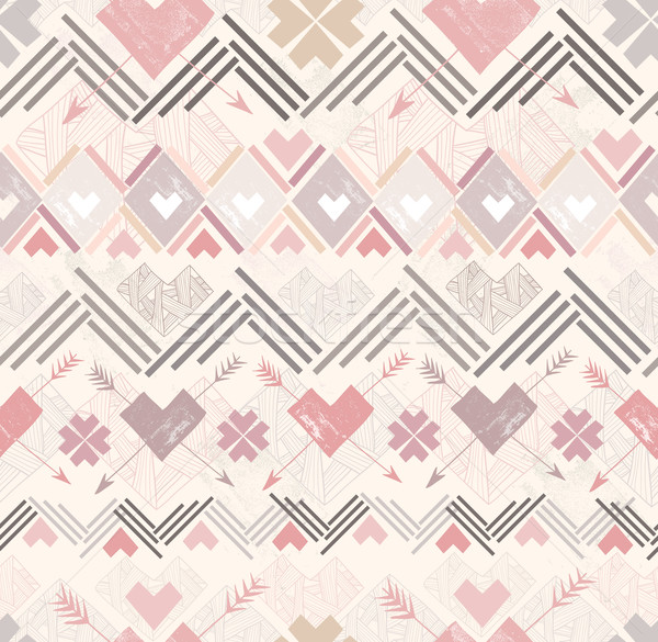 Abstract geometric seamless pattern. Aztec style hearts pattern  Stock photo © lapesnape