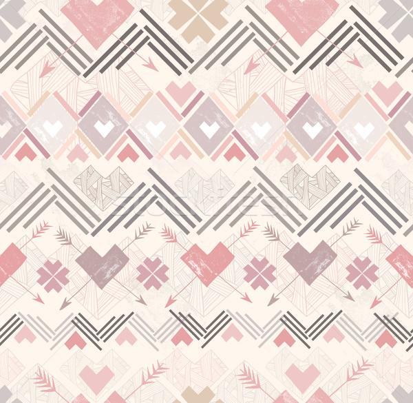 Absztrakt mértani végtelen minta stílus szívek minta Stock fotó © lapesnape