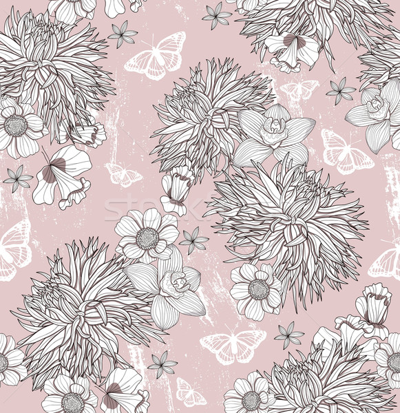 Seamless floral pattern. Background with flowers and butterflies Stock photo © lapesnape