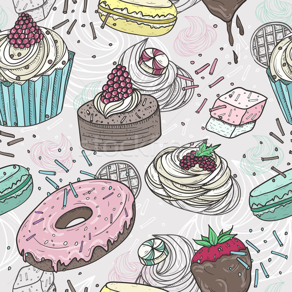Cute słodycze czekolady lodu truskawki Zdjęcia stock © lapesnape