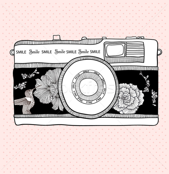 Background with retro camera.  Photo camera with flowers and birds Stock photo © lapesnape