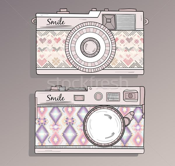 Retro Fotografia kamery zestaw vintage ozdoby Zdjęcia stock © lapesnape