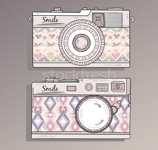Retro photo cameras set. Stock photo © lapesnape