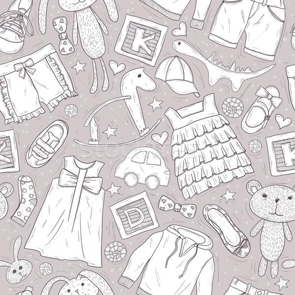 Cute jouets vêtements enfants voiture résumé Photo stock © lapesnape