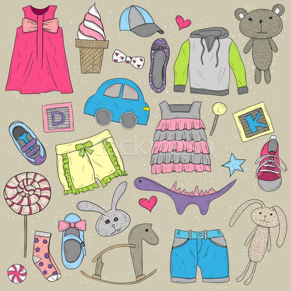 Gyerekek ruházat játékok terv elemek szett Stock fotó © lapesnape