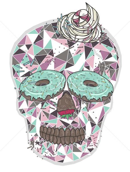Cute schedel donut ogen slagroom haren Stockfoto © lapesnape