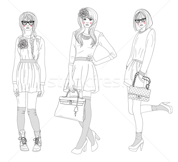 Young beautiful girls fashion illustration. Vector illustration. Stock photo © lapesnape
