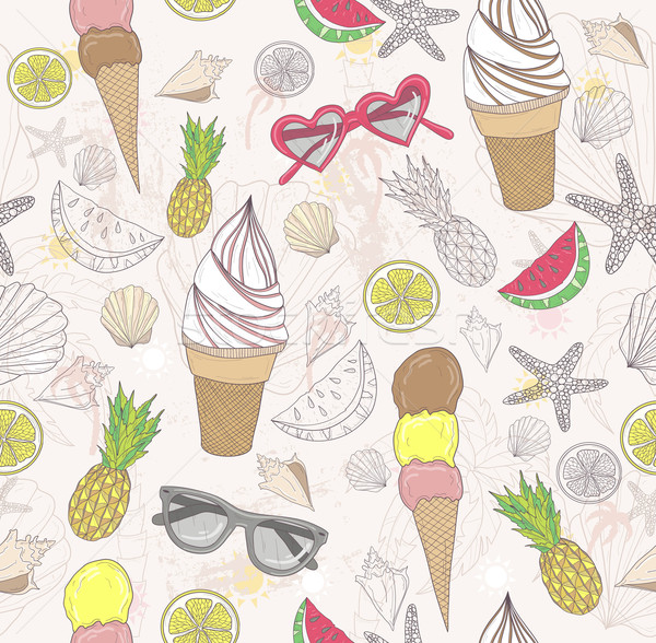 Cute summer abstract pattern. Seamless pattern with ice creams. Stock photo © lapesnape