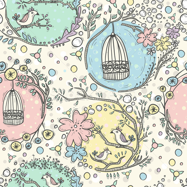 Seamless pattern with birdcages, flowers and birds.  Stock photo © lapesnape