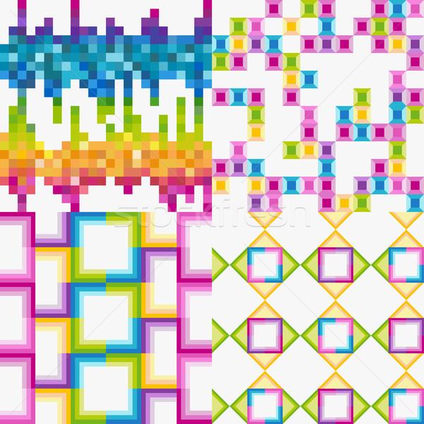 вектора набор аннотация красочный плитка фоны Сток-фото © lapesnape
