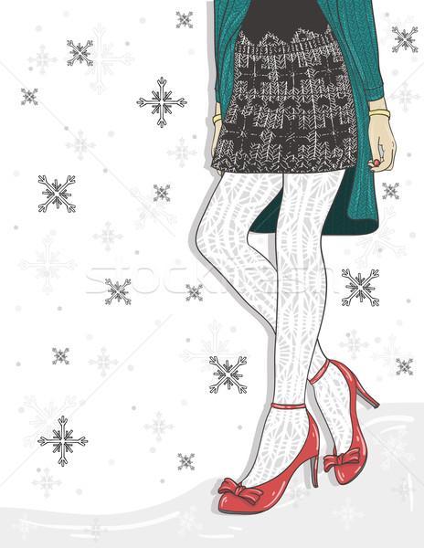 Aranyos tél divat nők hó háttér Stock fotó © lapesnape