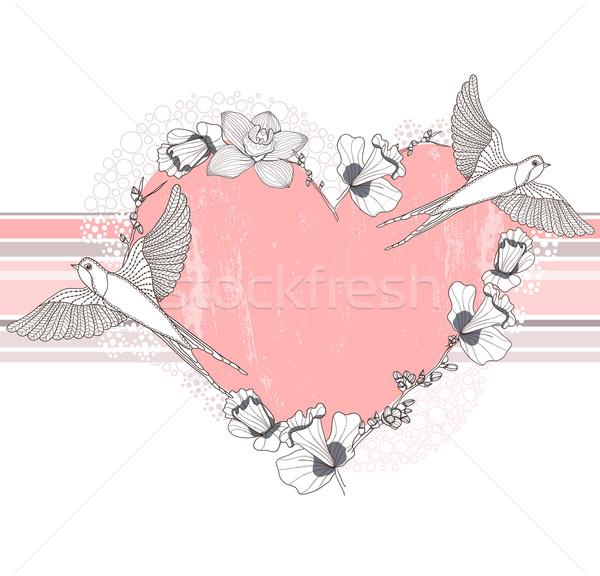 Coeur fleurs oiseaux carte postale carte de vœux invitation Photo stock © lapesnape