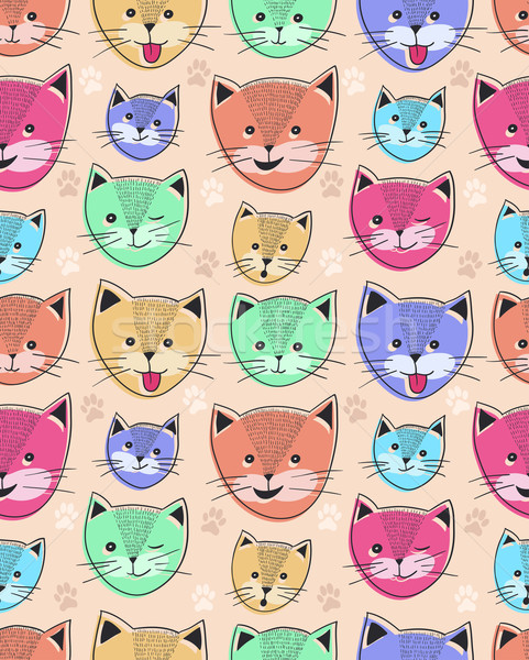 Cute chat enfants texture visages Photo stock © lapesnape