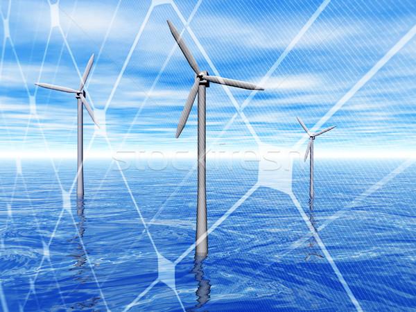 Wind turbines in the sea Stock photo © ldambies
