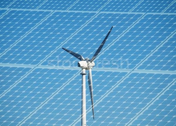 Turbina eolica fotovoltaico pannello natura blu Foto d'archivio © ldambies
