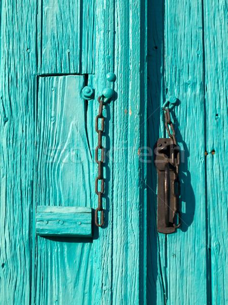Turquoise entrée porte bois chaîne texture Photo stock © ldambies