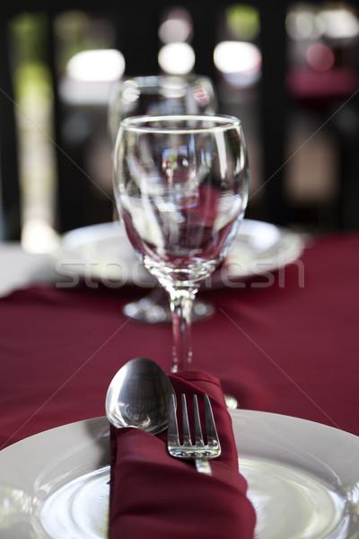 Restaurante tabela placas colher garfo óculos Foto stock © ldambies