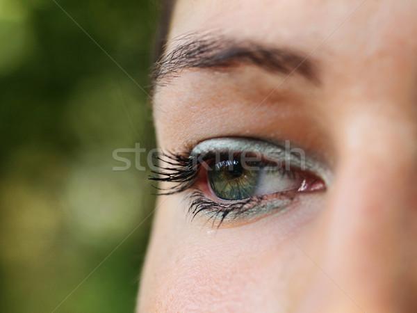 Néz előre közelkép portré gyönyörű lány arc Stock fotó © ldambies