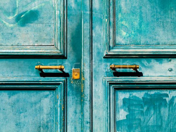 Türkis Tür Jahrgang Metall Griff Schlüsselloch Stock foto © ldambies