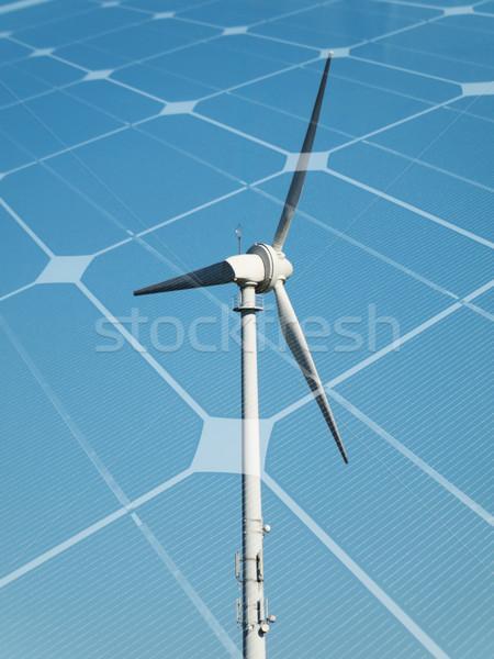 Zrównoważony energii turbina wiatrowa płyta niebo Zdjęcia stock © ldambies