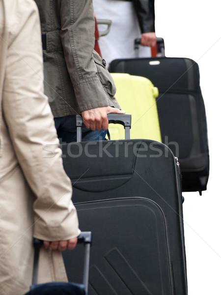 Luchthaven koffers geïsoleerd witte hand stad Stockfoto © ldambies