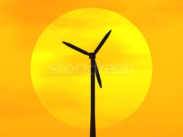 éolienne soleil 3D disque coucher du soleil Photo stock © ldambies