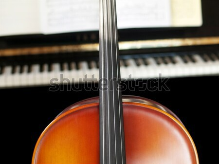 Stockfoto: Cello · geïsoleerd · zwarte · toetsenbord · viool