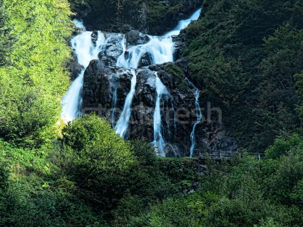 Berg Kaskade Ski Resort Wasser Wald Stock foto © ldambies