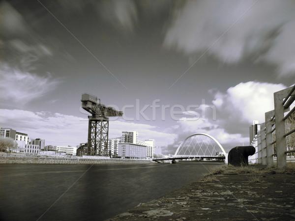 Glasgow fiume infrarossi foto gru ponte Foto d'archivio © ldambies