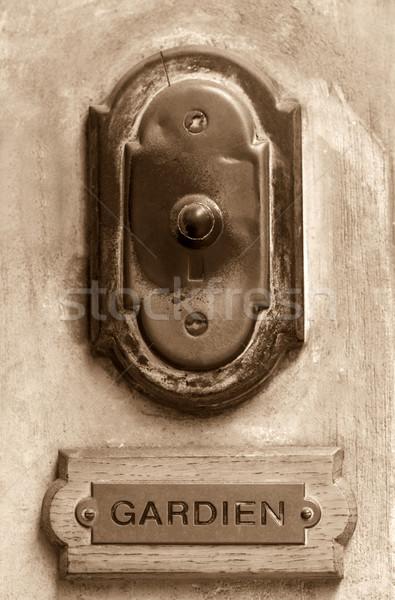 старые дверной звонок французский сепия консьерж Label Сток-фото © ldambies