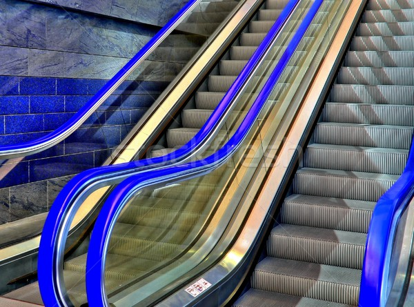 Blauw roltrap stad technologie metaal Stockfoto © ldambies