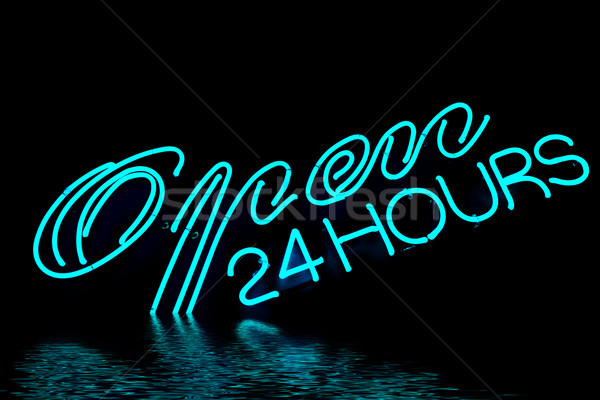 Ouvrir bar restaurant enseigne au néon 24 bleu Photo stock © ldambies