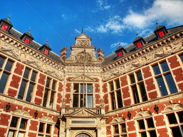 Arquitetura universidade edifício blue sky nuvens hdr Foto stock © ldambies