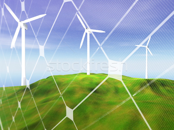 Wind turbines on green hill Stock photo © ldambies