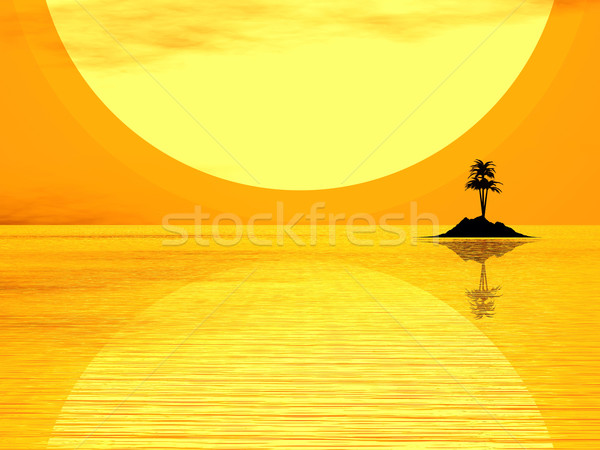 Paraíso ilha 3D pequeno coco Foto stock © ldambies