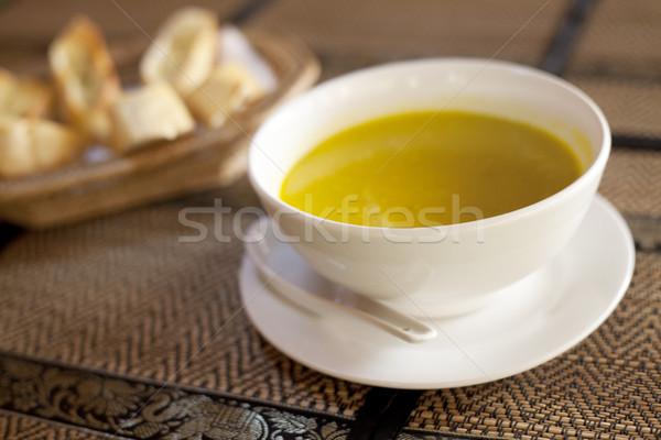 Abóbora sopa tigela restaurante pão comida Foto stock © ldambies
