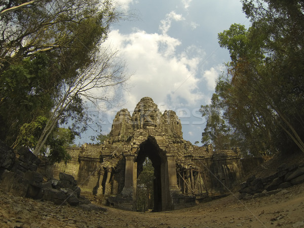 Angkor Kamboçya kapı ölüm seyahat mimari Stok fotoğraf © ldambies