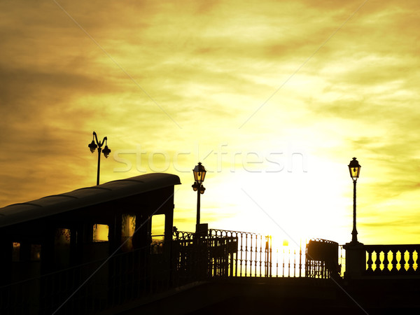 Kablo araba gün batımı gökyüzü şehir ışık Stok fotoğraf © ldambies