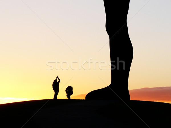 Angyal észak tájékozódási pont Newcastle naplemente emberek Stock fotó © ldambies