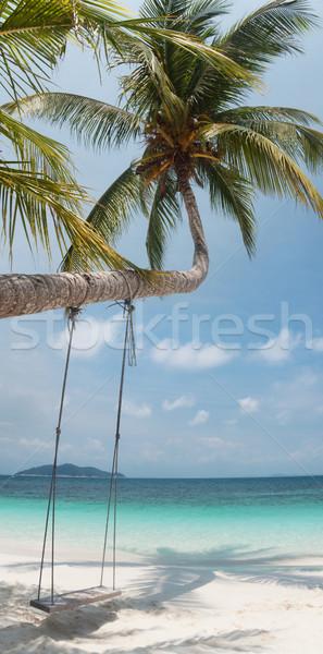 Trópusi édenkert fehér homok tengerpart sziget Malajzia Stock fotó © ldambies