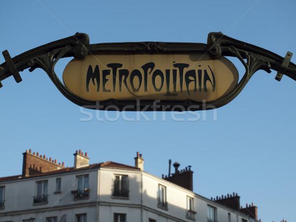 Metró bejárat felirat Párizs város utazás Stock fotó © ldambies