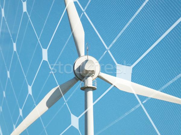 Durable énergie éolienne photovoltaïque panneau ciel Photo stock © ldambies