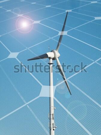 Stockfoto: Duurzaam · energie · windturbine · fotovoltaïsche · paneel · hemel