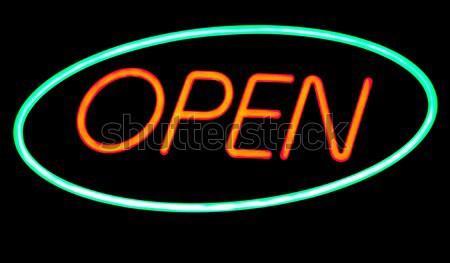 Açmak neon bar kırmızı yeşil siyah Stok fotoğraf © ldambies