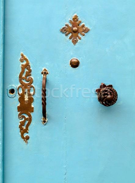 Mavi kapı turkuaz bağbozumu Metal işlemek Stok fotoğraf © ldambies