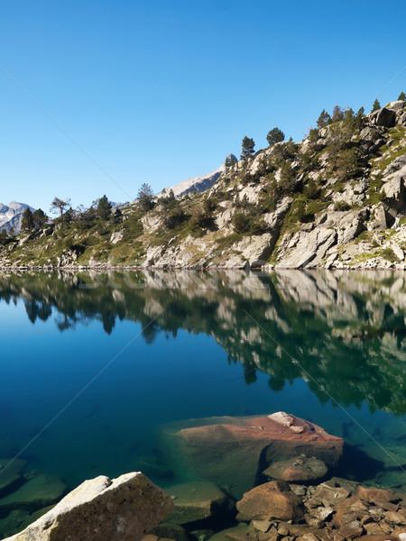 Belle lac élevé montagnes eau réflexion Photo stock © ldambies